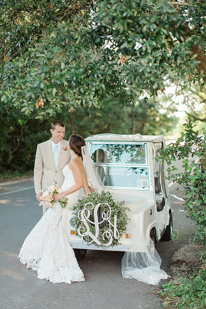 We love the personal touch of a monogram getaway car decor