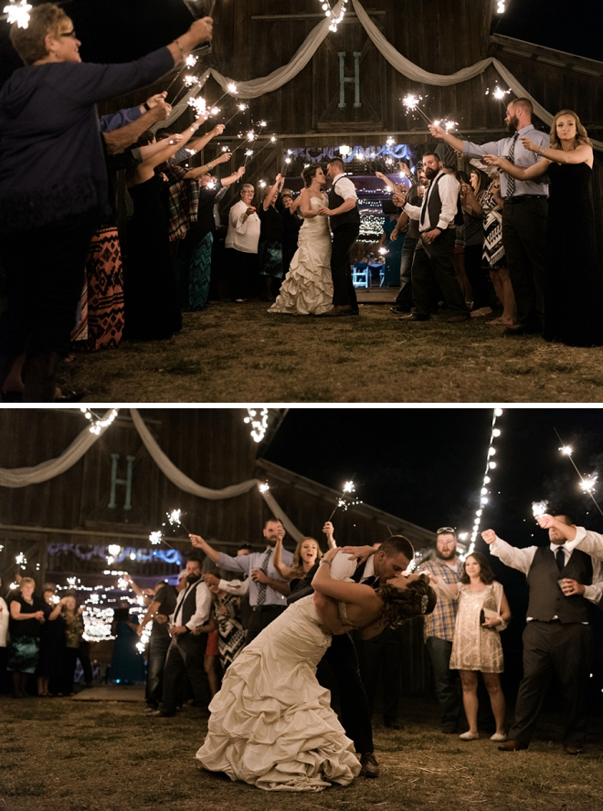 Such a fun end to a gorgeous day with this sparkler exit!