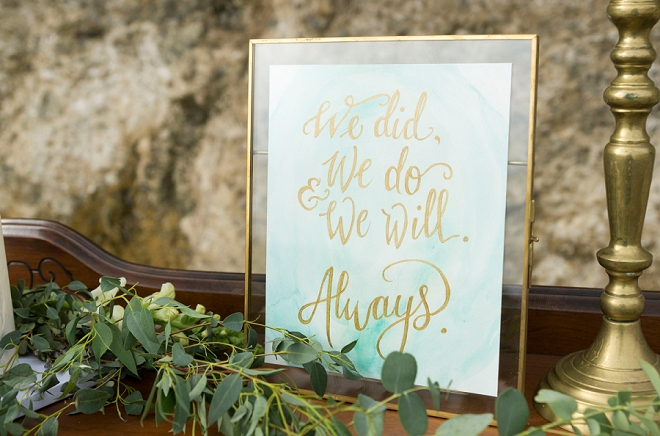 We're in love with these dreamy watercolor turquoise and gold signs!