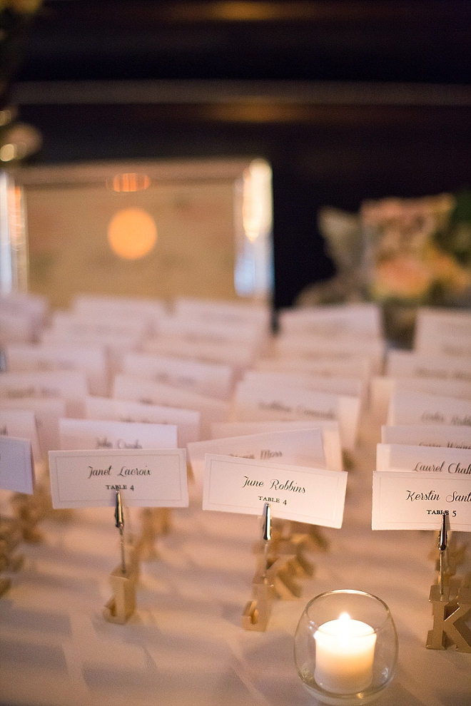 Such a darling escort card display with personalized initial holders!