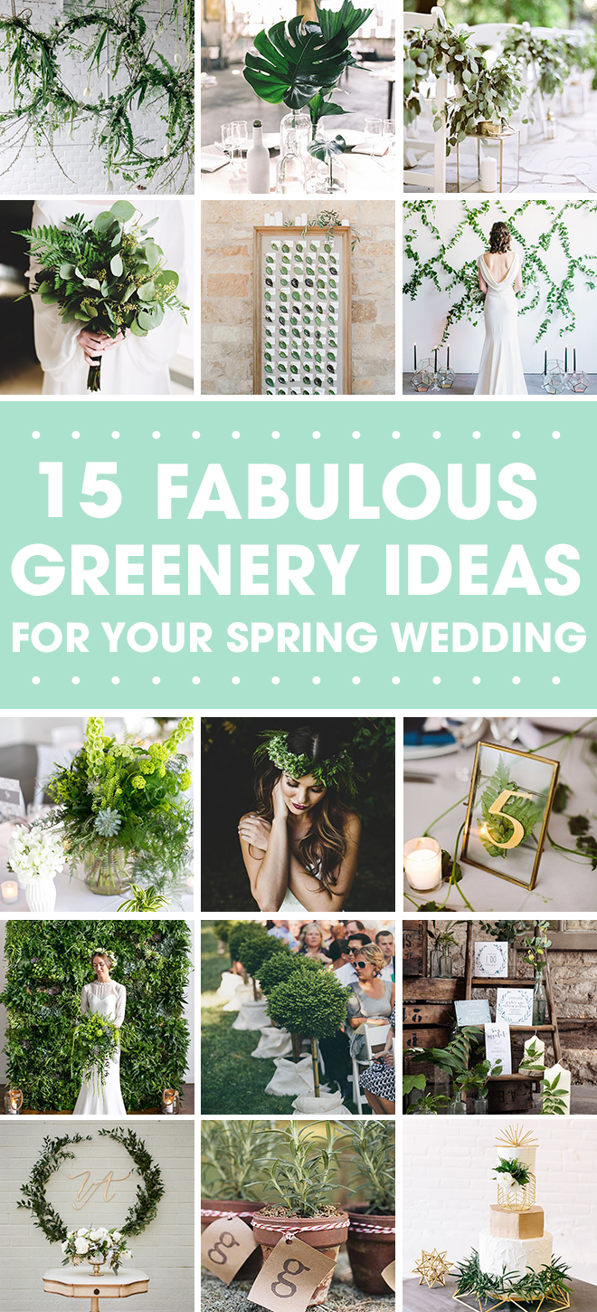 Greenery is totally having a moment!  Check out our ideas for incorporating this trend into your wedding.