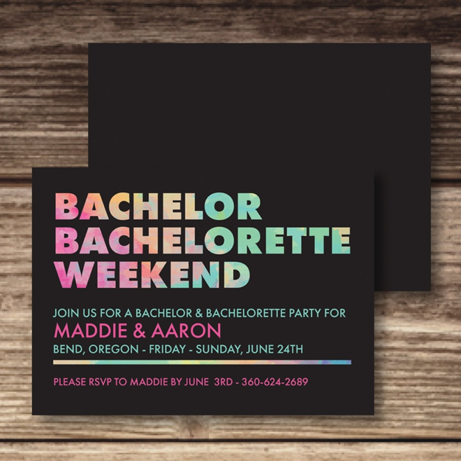 Bachelor and Bachelorette Weekend Invite by Madeline Grace