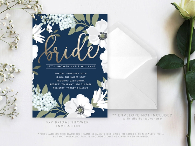 Golden and Navy Bridal Shower Invitation by Paper Mint Prints