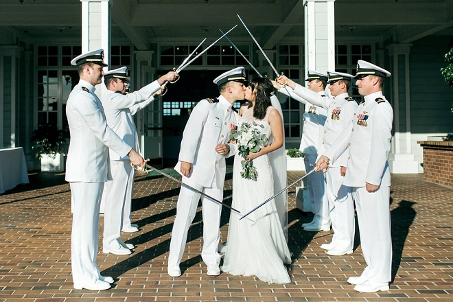 Great shot of the new Mr. and Mrs. with the traditional Military snap!