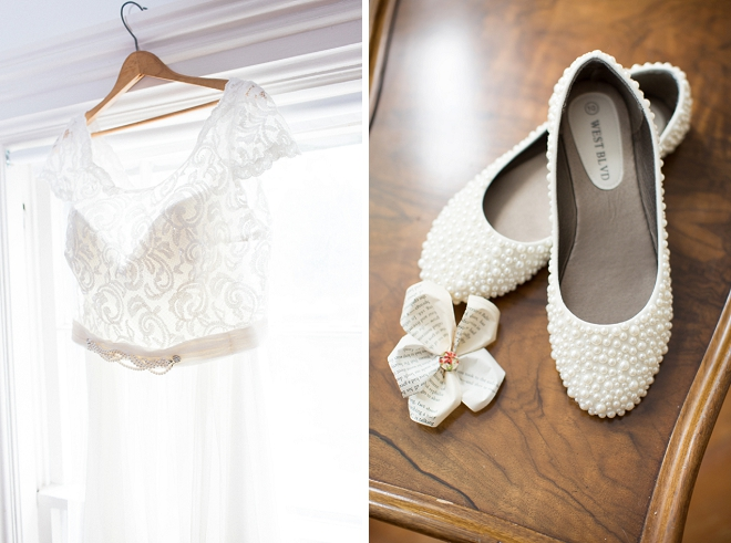 Check out this Bride's DIY'd wedding shoes! She added the pearls herself!!