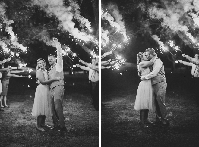 We love this snap of the Mr. and Mrs. and their fun sparkler exit!