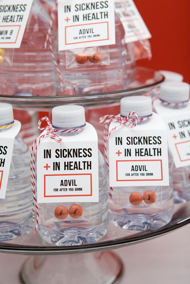 OMG, check out these In Sickness and In Health drinking favors for your wedding!