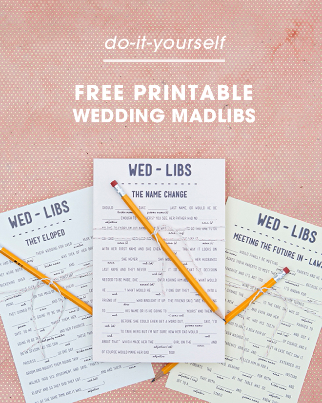 Print Our Funny Wedding Mad libs For FREE, 12 Themes!