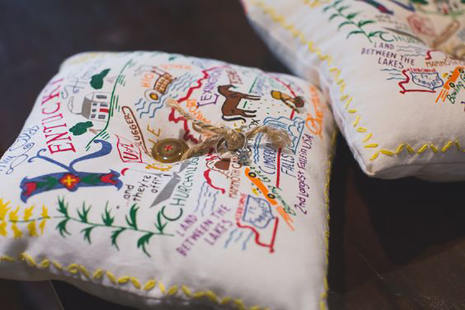 Use a State themed ring pillow for a subtle nod to your home town.