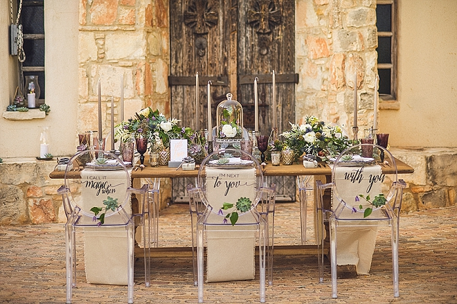 We're in LOVE with these ghost chairs with lettering on the back for your reception!