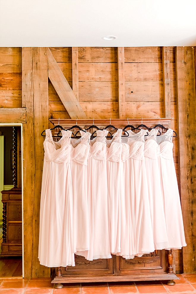 We love these beautiful blush Bridesmaid's dresses!