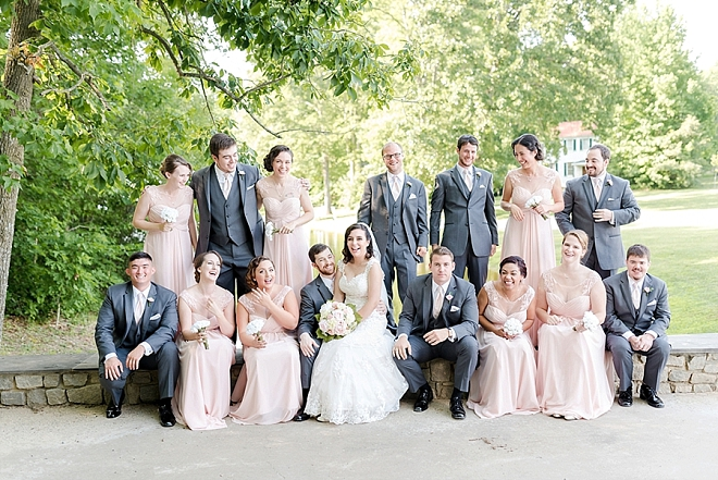 Such a fun snap of the wedding party after the ceremony!