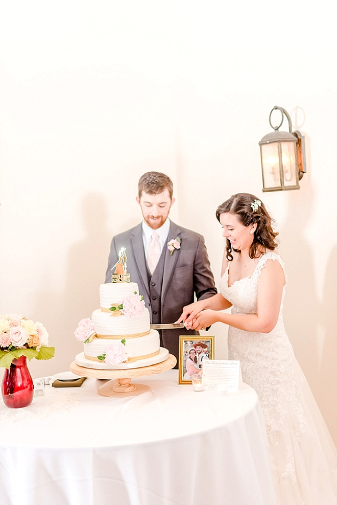 Cutting the cake as Mr. and Mrs!