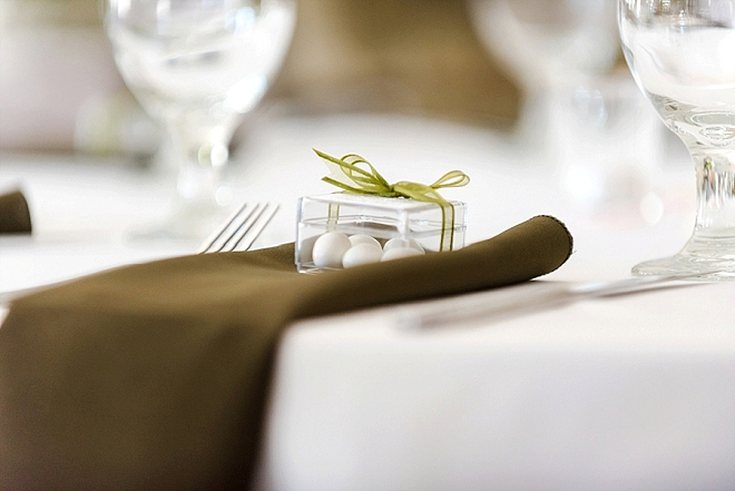 This couple gave traditional almonds to each guest as their wedding favor!