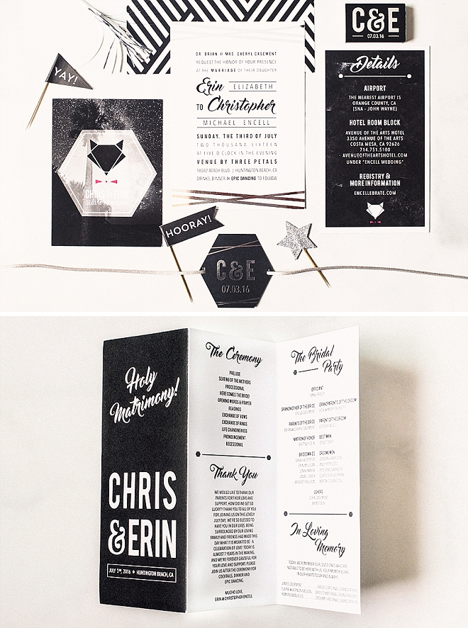We're in LOVE with this couple's super modern wedding invite suite designed by the Bride herself!