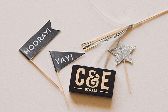 We love this couple's modern sparkler exit and custom matchbook details!