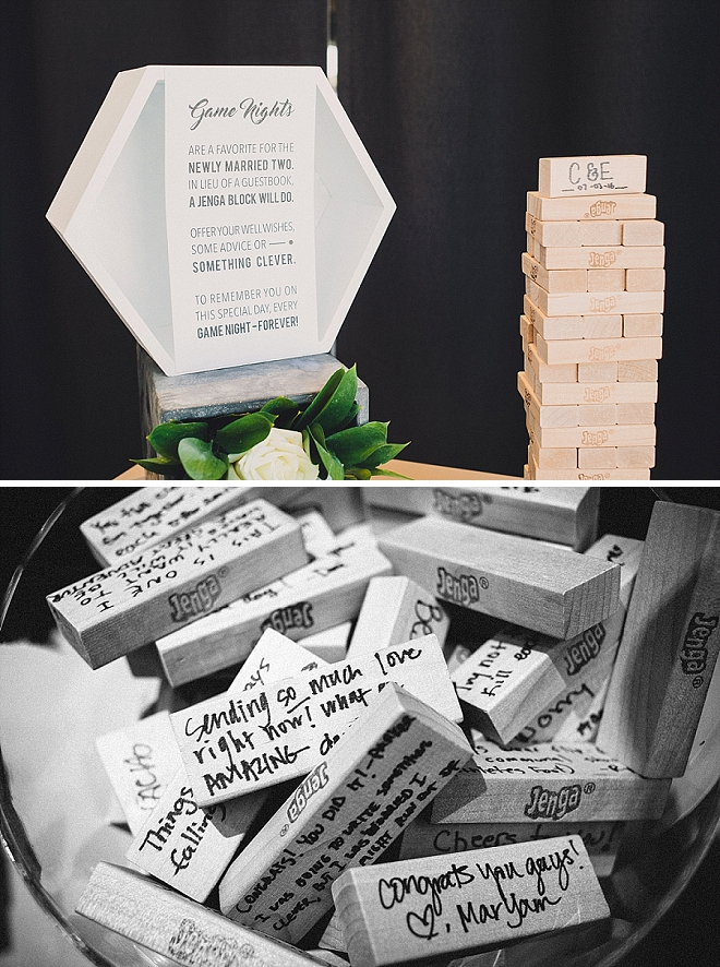 We love this couple's fun jenga game guest book idea!
