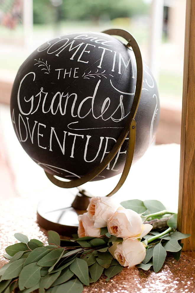 We're loving this couple's chalkboard globe for signage! So cute!