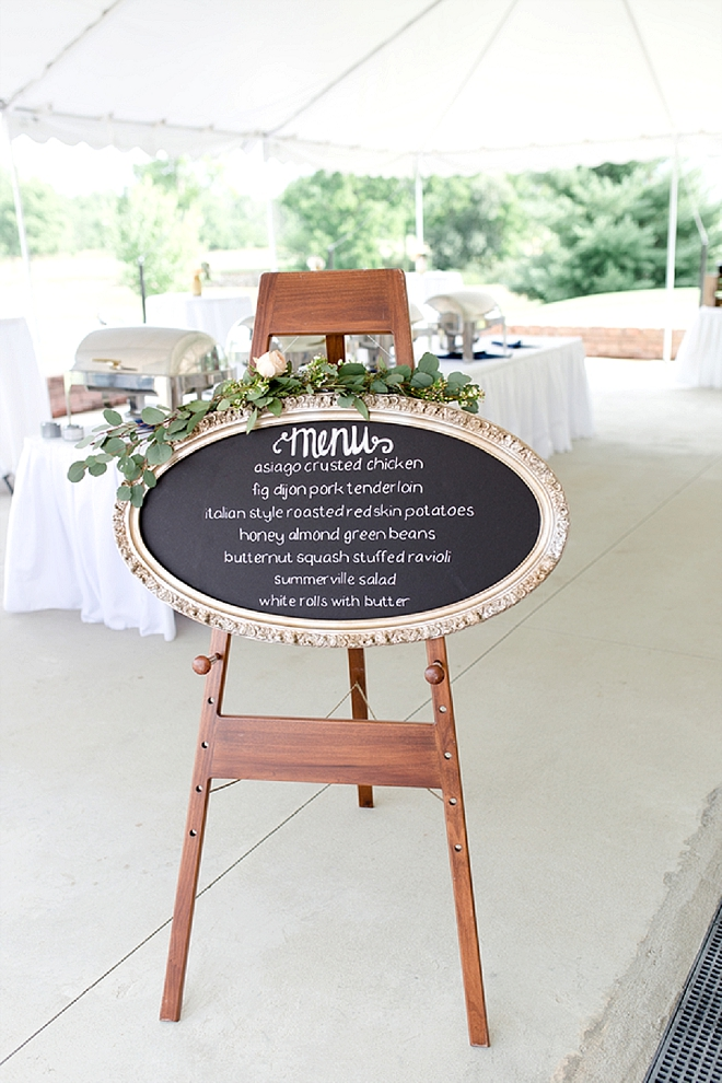 This Bride had gorgeous chalkboards for every sign - including this gorgeous menu sign!