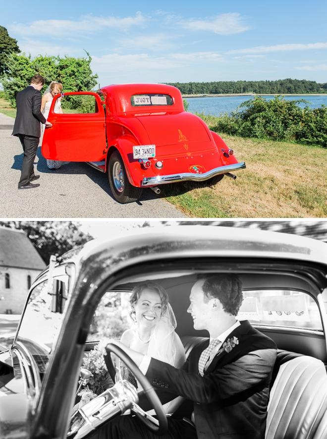 We love this couple's retro wedding car! So cute!
