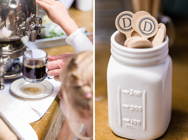 In love with these monogrammed coffee stirs perfect for this couples intimate breakfast-style wedding!