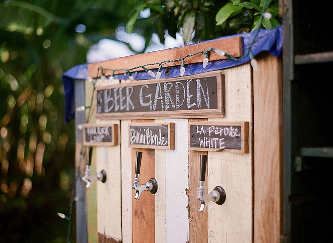 Check out this handmade bar the couple's family built for their reception!