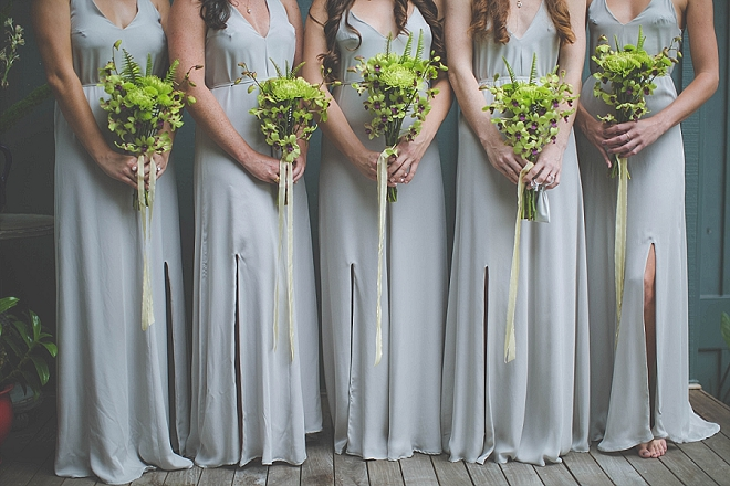 We're loving these natural green bouquets the Bride and her Mom DIY'd!