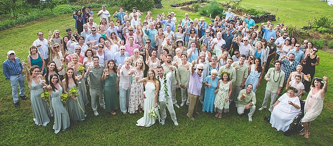 Such a fun snap of the Mr. and Mrs. and their wedding party!