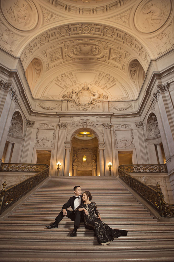 Gorgeous shot of a newly engaged couple by Jay Tsai Photography