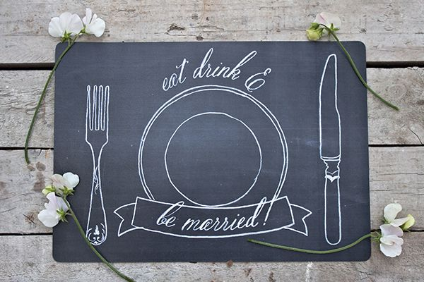 These free printable wedding placemats are too freaking cute! I love the chalkboard look.