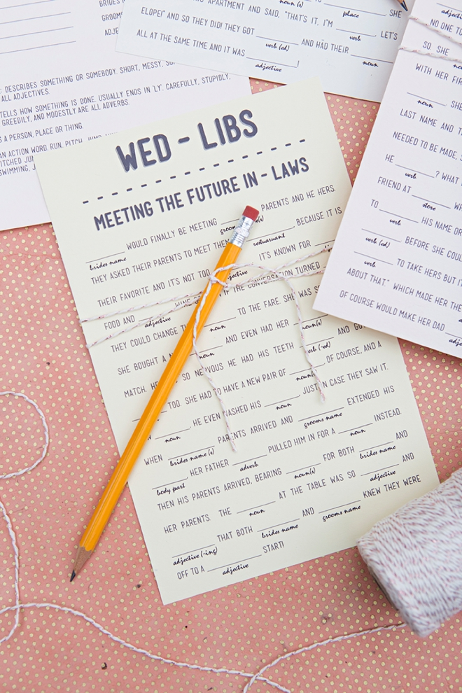 DIY Free printable wedding madlibs. Such a cute idea for a wedding!