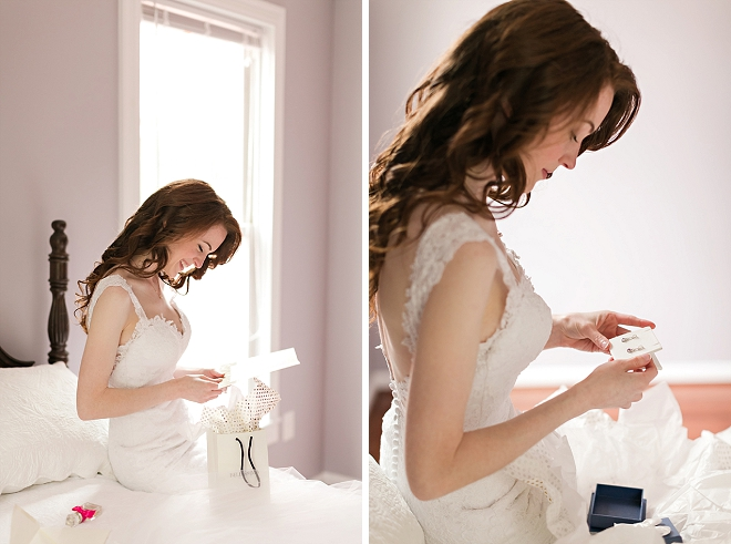 Reading a pre-wedding day note from her Groom!