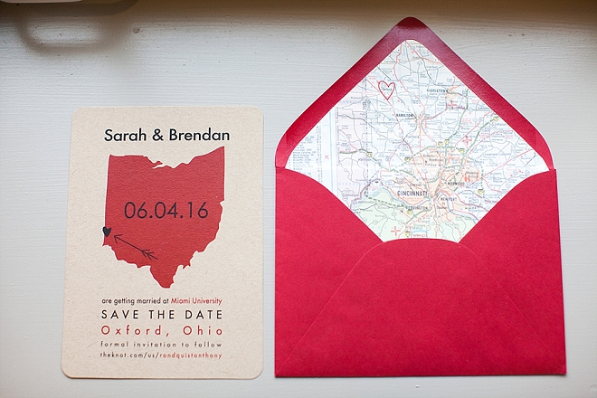 We're in LOVE with this couple's cute invitation suite perfect for their Ohio wedding!