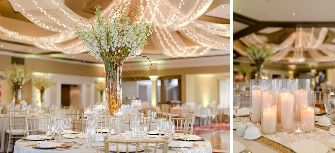 Loving this couple's gold and glittery romantic candle lit reception!