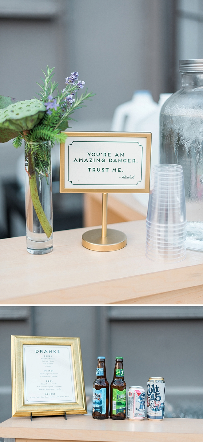Loving these fun DIY'd bar signs at this fun and crafty reception!