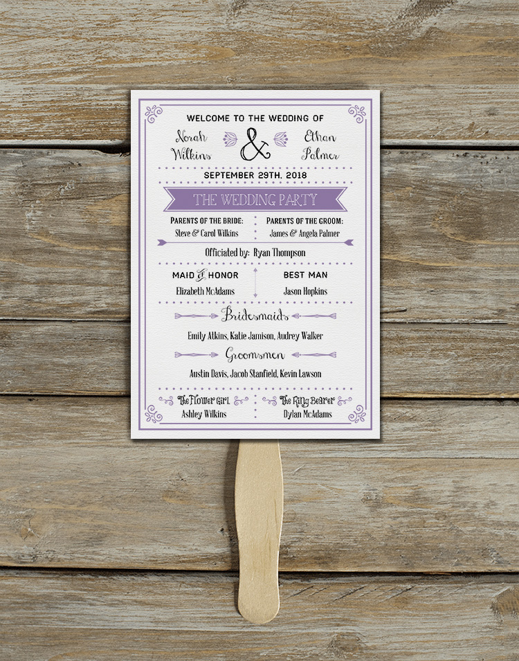 Free printable fan wedding program. So good for a summer, outdoor, or destination wedding.