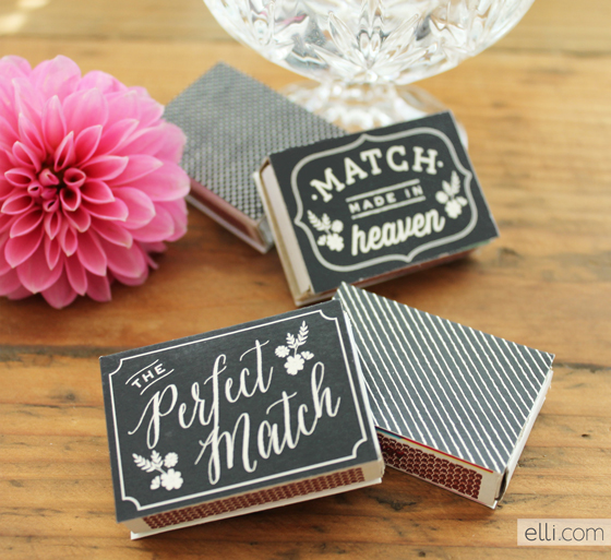 Printable Chalkboard match labels. Really easy DIY wedding favor gift!