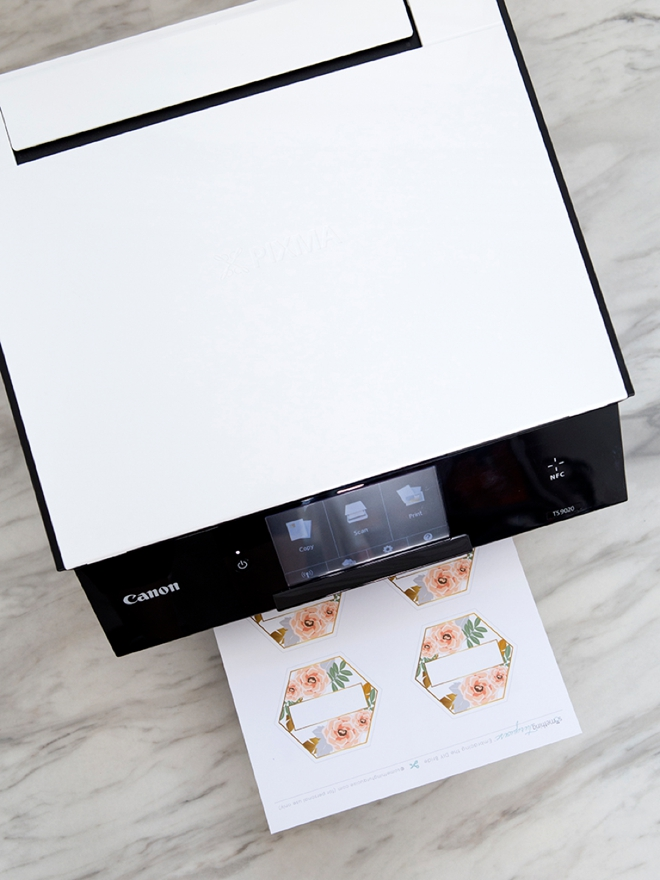 Print our free bouquet and boutonniere tags using your Canon TS9020!