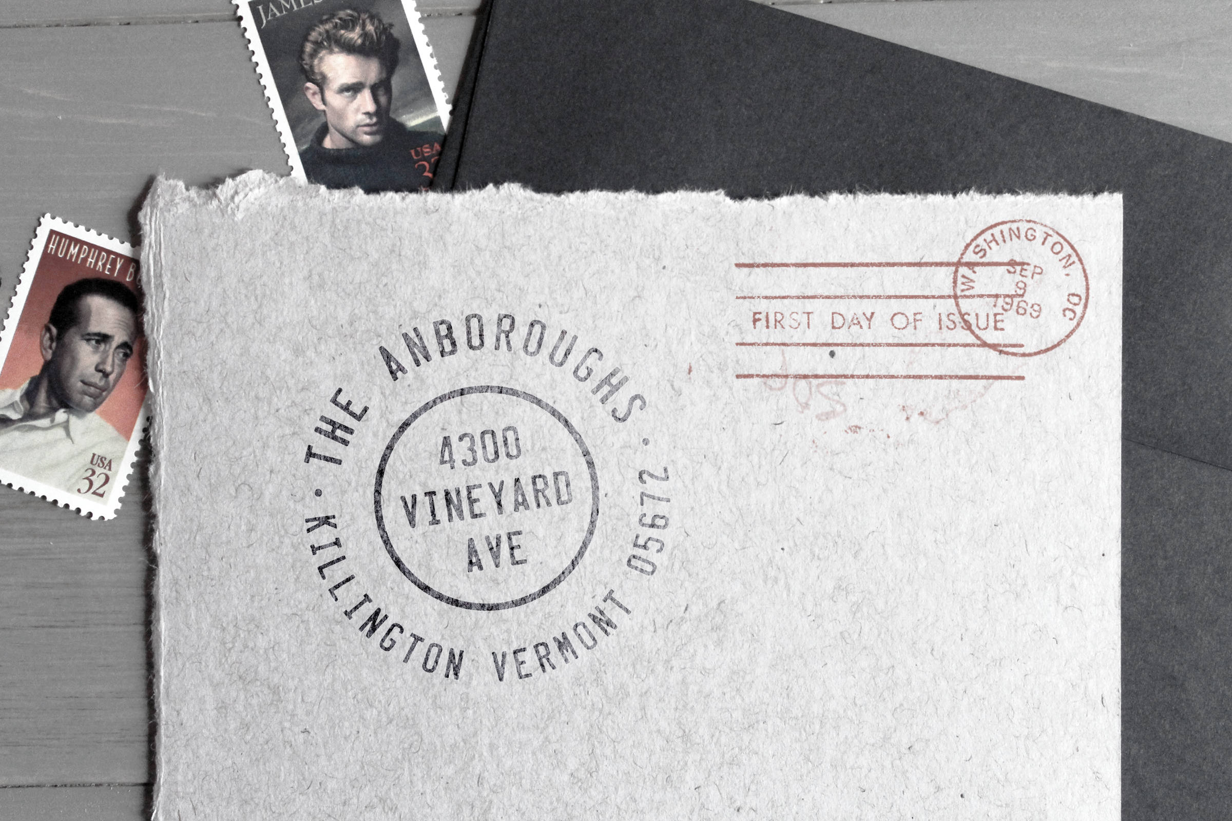 Custom return address stamp from Unveil Co. Goods Company