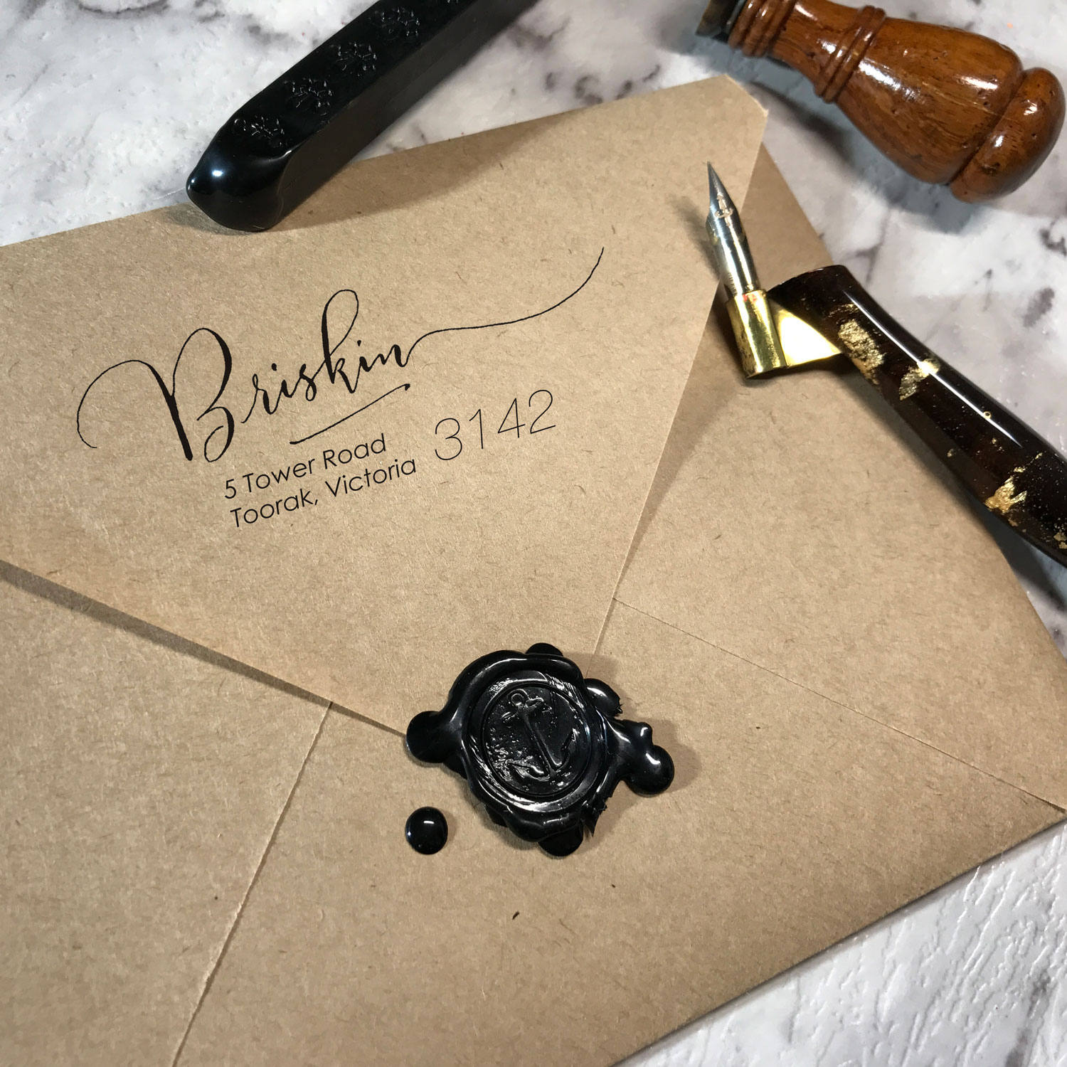 Custom return address stamp from Zizi Calligraphy