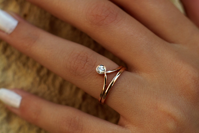 Chevron Diamond Engagement ring