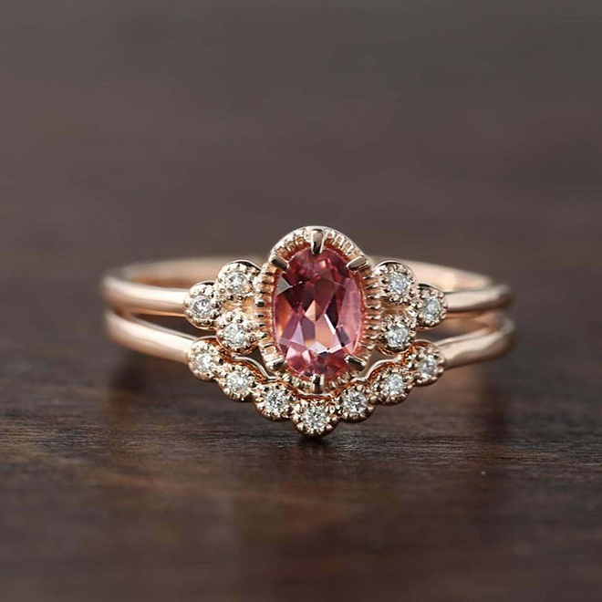 Pink Tourmaline Engagement Ring