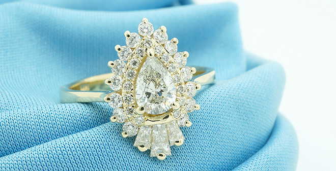 Art Deco Pear Engagement Ring