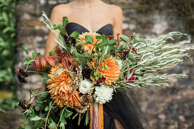 Orange and red wild fall bouquet.
