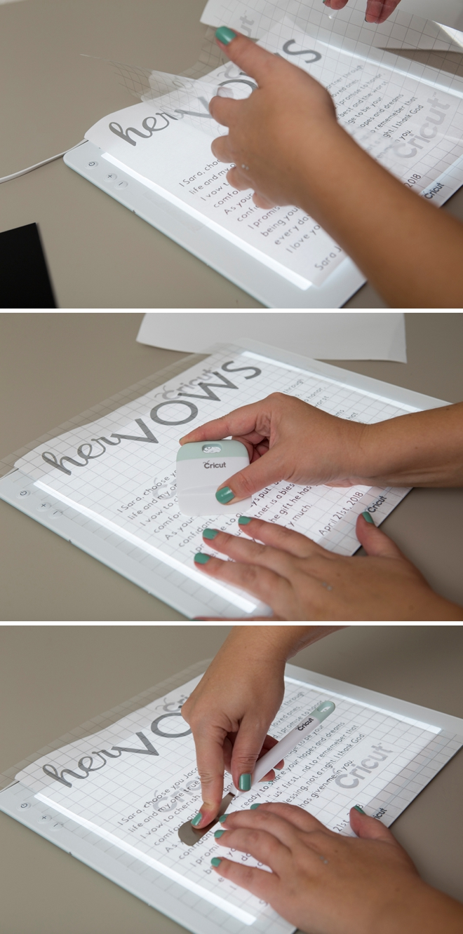 Cricut, vinyl, acrylic boards and your vows make the best DIY ceremony detail ever!