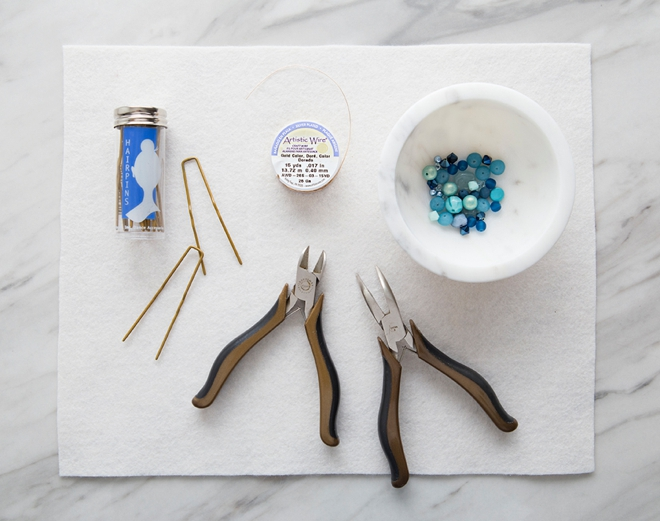 Learn how to make the most beautiful something blue wedding hair pins!