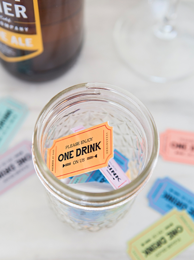 Keep your wedding bar budget under control with these DIY drink tickets!