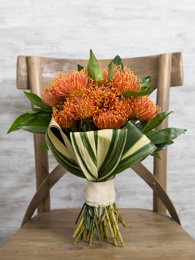 Gorgeous pin cushion protea wedding bouquet that you can make yourself!
