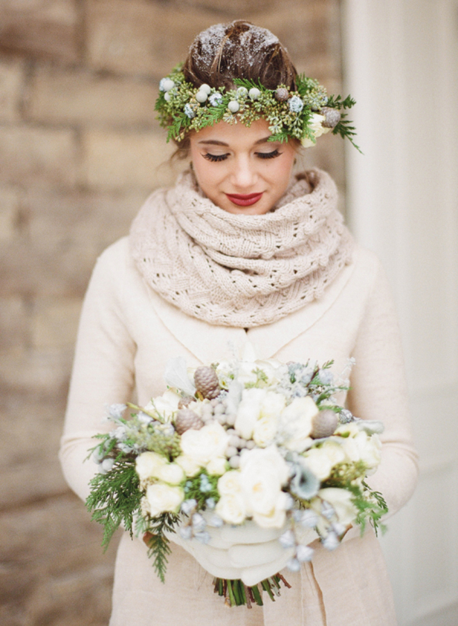 A winter greenery crown is so lovely for a winter fete.