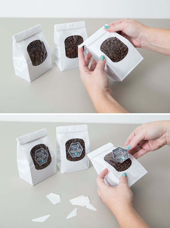 These handmade coffee favors are so cute, with FREE labels!